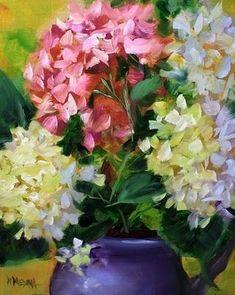 Sisterhood Hydrangeas by Texas Flower Artist Nancy Medina, painting by artist Nancy Medina Hydrangea Painting, Flower Artists, Still Life Art, Arte Floral, Beautiful Paintings, Art Oil, Love Art, Watercolor Art, Flower Arrangements