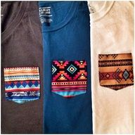 Tee shirt with aztec-patterned breast pocket.