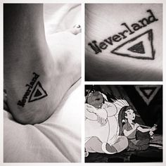 Peter Pan related tattoo. During a scene from the movie after Peter has saved Princess Tiger Lily, they are all invited to a pow-pow. The chief passes around a pipe, and he blows a triangle, then Peter fills in his triangle. The Native American symbol for temporary home was a triangle.