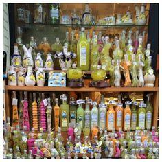 Limoncello bottles, Shopping in Capri Shopping In Italy, Limoncello, Capri, Food And Drink, Bottles, Cruise, Cruises