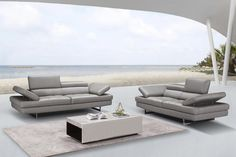 The Aurora Sofa set by J&M is class fully designed with padded adjustable armrest that feature a ratchet system for adjust ability. Italian Leather Sofa, Leather Sofa Set, Outdoor Furniture Sets, Leather Living Room Set, Beautiful Sofas, Contemporary Home Decor, Living Room Sets, Sofa Design