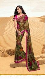 Beautiful Printed Multi Color Georgette Saree