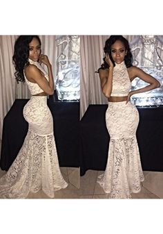 Formal Dresses Prom Dress Prom Dress Formal Dress Two Piece White High Neck Sweep Train Lace Trumpet Mermaid Prom Dress