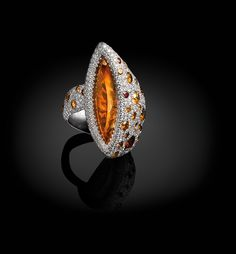 Palmiero, Captured stones collection, King sizes line ring