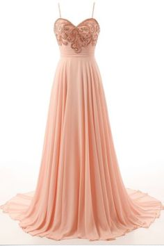Light Peach Long Prom Dresses, Straps Prom Gowns,Beaded Evening Dresses…