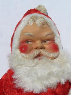 Photo of old stuffed toy Santa Claus doll w/ rubber face & plush, vintage Christmas #5