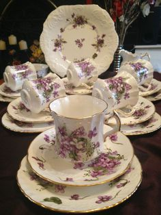 Vintage HAMMERSLEY Spode  Victorian Violets  Countryside 21pc Bone China TEA SET