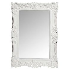 Miroir trumeau sculpté en bois de paulownia blanc H 120 cm ALTESSE ...