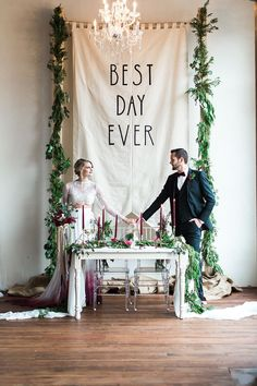 Best Day Ever wedding backdrop