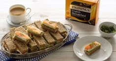 Twinings Salmon & Cucumber Sandwiches Cucumber Sandwiches, Tea Sandwiches, Afternoon Tea Recipes, Smoked Salmon, Sausage, Beef, Party Ideas, Birthday