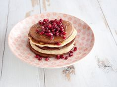 Cocoa and Vanilla Pancake Tower Recipe Breakfast and Brunch with all-purpose flour, baking powder, salt, carbonated water, canola oil, rice syrup, vanilla extract, cocoa powder, pomegranate
