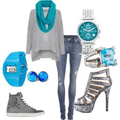 Wanted to show the top and jeans being used in 2 styles. to the left. Blue Grey, Classy, Jeans, Casual, Tops, Style, Fashion, Moda, Chic