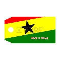 Ilustración de la bandera. Etiqueta de precio con la palabra Hecho en Ghana.