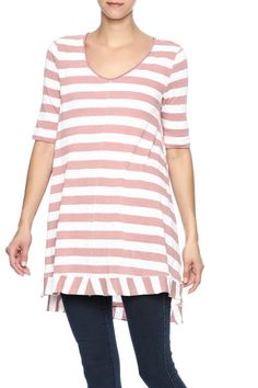 Stripe printed top with 3/4 sleeves, side slits and a high low hem.   High Low Top by Mystree. Clothing - Tops - Tunics Clothing - Tops - Short Sleeve Iowa