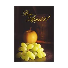 Bon Appetit! Apple and Grapes Wall Art Canvas Prints