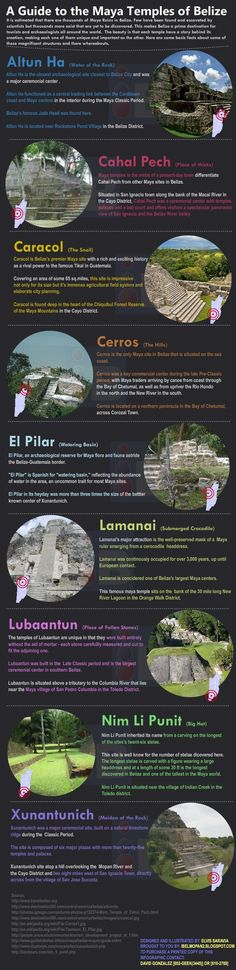 "This is a great guide to Belize's Mayan temples. The 4 main sites in Cayo are listed: Cahal Pech, Caracol, El Pilar, and Xunantunich. ""It is estimated that there are thousands of May ruins in Belize. Few have been found and escavated by scientists but thousands more exist that are yet to be ..."