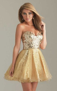 Short Sweetheart Gold Homecoming Dresses By Night Moves 6498
