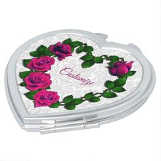 Shop Personalized Rose Vine Heart Compact Mirror created by BlueRose_Design. Rose Vines, Compact Mirror, Makeup Tools, Heart Shapes, Mirrors, Vibrant Colors, Glass, Design, Vivid Colors