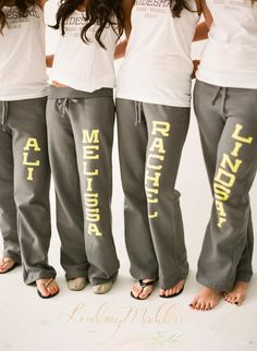 Cozy, Comfy... let's just say bridesmaids will totally love you for these!  Perfect for getting ready. Photo by Lindsay Madden. Sweats by Sister9Designs. http://emmalinebride.com/bridesmaids/bridesmaid-sweatpants/