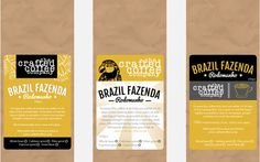 Three design ideas for a micro roasters coffee packaging.