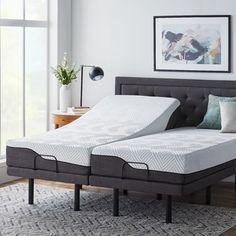 LUCID Comfort Collection 10-inch Split King Size Memory Foam Hybrid Mattress with L300 Adjustable Base