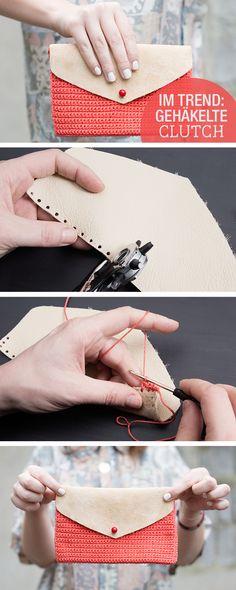DIY-Anleitung: Schicke Clutch mit Leder häkeln, Accessoire für Dein Sommeroutfit / tutorial: crocheting leather clutch, accessory for your summer outfit via DaWanda.com