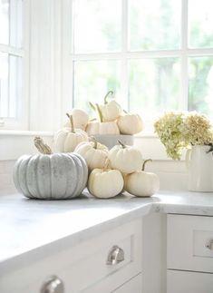 Atmosfera natural chic per la casa autunnale Modern Fall Decor, Fall Home Decor, Autumn Home, Elegant Fall Decor, White Pumpkin Decor, White Pumpkins, Painted Pumpkins, Coastal Fall, Pumpkin Display