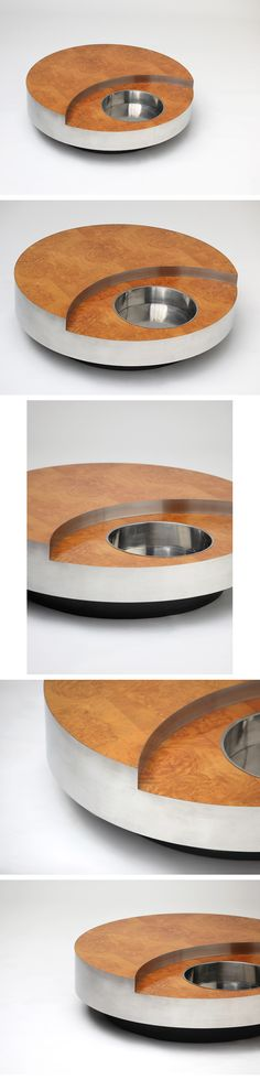 Willy Rizzo Circular revolving coffee table or cocktail table in burl wood finish. Stainless steel border and Integrated ice bucket. Measurements : height: 38 cm ( 1 ft. 3 in. ) diameter: 115 cm ( 3 ft. 9.3 in. )