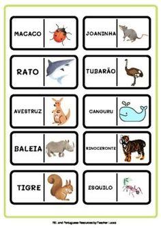 Animais - Jogo de Dominó em Português | TpT English Activities For Kids, English Worksheets For Kids, Easel Activities, English Language Learning, Teacher Favorite Things, Learning Resources, Higher Education, Squirrel, Shark
