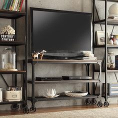 Fantastic Metal Material for Industrial Flat Screen TV Stands with Small Wheels on Oak Flooring