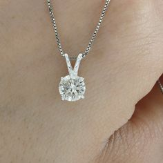 .68ct ESTATE ROUND CUT NATURAL DIAMOND PENDANT SOLITAIRE NECKLACE 14K WHITE GOLD