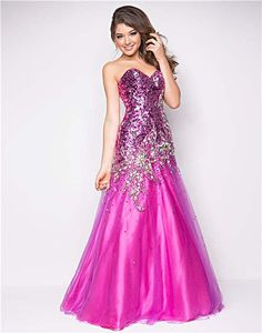 Magenta Sequin & Tulle Strapless Drop Waist Prom Gown - Unique Vintage - Cocktail, Pinup, Holiday & Prom Dresses.