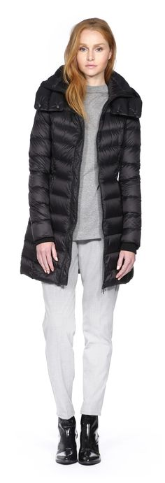 SOIA & KYO - KISHA-F4 BLACK LIGHT DOWN JACKET WITH HOOD FOR WOMEN. WWW.SOIAKYO.COM #wool #womens #coat #soiakyo #jacket #fw14