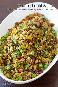 Quinoa Lentil Salad ~ Made with crispy roasted brussels sprouts, shallots, sweet red peppers and scallions, this healthy side dish is both filling and fragrant. Cook lentils and quinoa separately. Lentil Salad Recipes, Veggie Recipes, Whole Food Recipes, Vegetarian Recipes, Cooking Recipes, Healthy Recipes, Vegan Meals, Lentil Quinoa Salad, Recipe With Lentils And Quinoa