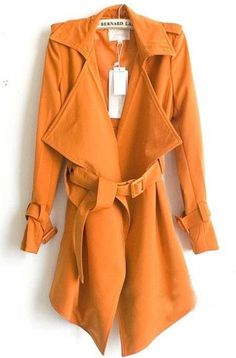 Fashion Turndown Collar Long Sleeves Orange Cotton  Long Trench