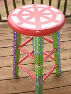 Hand Painted Stool  Whimsical Furniture  by WhimsicalFurniture, $125.00