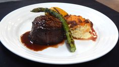 Main Course  Grilled Filet Mignon, Tri Peppercorn Sauce, Grilled Vegetable Stack of Zucchini, Squash, Pepper, Asparagus and Whipped White Truffle Essence Potato Rosette  #RiversideHotel #Catering