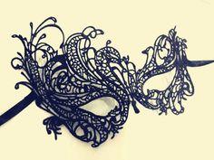 Masque dentelle noire, masque de dentelle au crochet