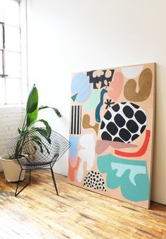 Available — Ashley Mary oversized abstract canvas print ; bold color and pattern against a white wall; eclectic homes (art by Ashley Mary) Contemporary Abstract Art, Contemporary Artists, Contemporary Interior, Colorful Abstract Art, Colorful Artwork, Office Interior Design, Painting Inspiration, Interior Inspiration, Creative Inspiration