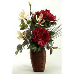 D & W Silks Peonies, Japanese Magnolia and Foliage in Wooden Vase   Wayfair