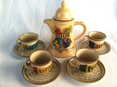 Harry Potter Hogwarts Crest Tea Set - J.K. Rowling Quote with Gryffindor, Slytherin, Hufflepuff, and Ravenclaw House Teacups and Saucers. (click for more pictures) o-o