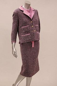 Chanel couture lilac and black tweed suit, Autumn-Winter, 1959