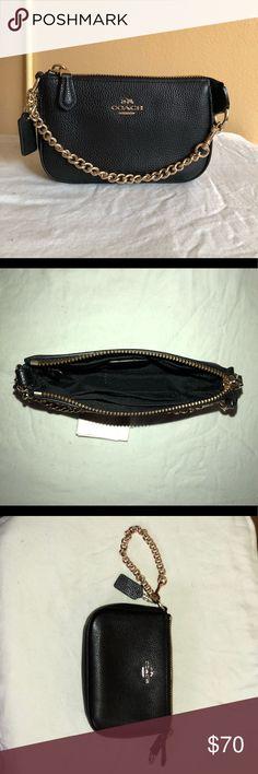 Coach Nolita Wristlet 19 Barley used pebbled black leather Coach wristlet with gold chain Coach Bags Clutches & Wristlets