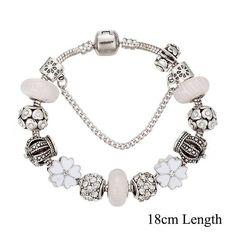 Summer in the City Crown White Enamel Flower Charm Bracelet
