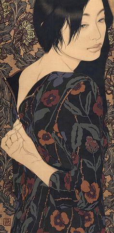 "Yasunari Ikenaga is a 1965-born Japanese artist. His paintings depict beautiful women, whose expressions postures suggest a dreamy atmosphere. His paintings also showcase exquisite textile pattern designs. His subjects are always women of modern times, but at the same time, the Nihonga painting style reflects ancient Japanese traditions, which gives his works a timeless feel. He creates his art by dropping Japanese paints into the canvas that he calls ""linen cloth"", with a Menso brush."