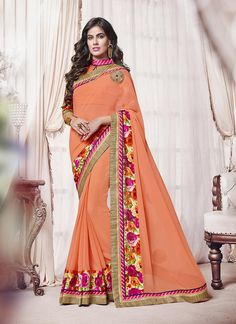 Buy saree online. Customization and free shipping worldwide. Sterling georgette designer saree for festival and party.