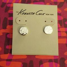 *SALE!* Silver disc earrings Flat, silver, hammered looking circle earrings Kenneth Cole Jewelry Earrings