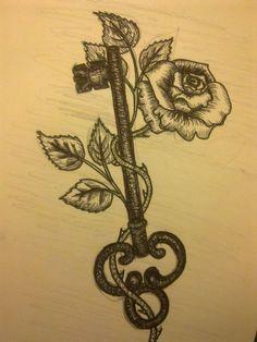 Rose and Key Tattoo Design Trendy Tattoos, Love Tattoos, Beautiful Tattoos, Tattoos For Women, Crown Tattoos, Heart Tattoos, Awesome Tattoos, Music Tattoos, Body Art Tattoos