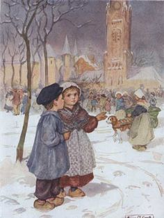 """""""Our Allies Story"""" illustration by Alice May Cook (nee Barnett), Book Illustrator and Miniature Artist Wood School, Postcard Art, American Poets, Norman Rockwell, Book Collection, Illustrators, Character Design, Alice, Miniatures"""
