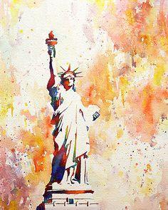 Statue of Liberty on Liberty Island in New York Harbor- New York. Statue of Liberty painting. Watercolor Statue of Liberty. Statue Of Liberty Drawing, Monuments, New York Harbor, Statue Tattoo, Art Watercolor, Stone Statues, Dragon Statue, Art Inspo, Fine Art America